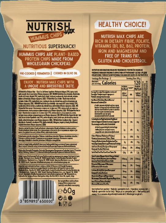 Nutrish Max Hummus chips - Classic - back