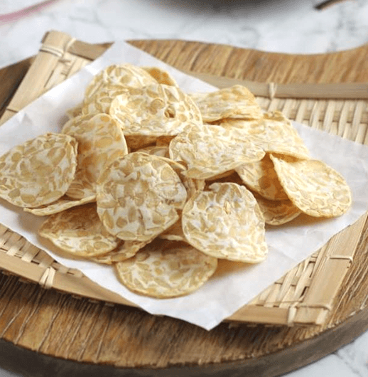 Tempeh chips on a plate